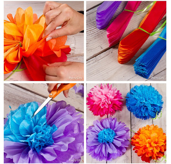 Как сделать большие цветы из салфеток своими руками для украшения зала 2