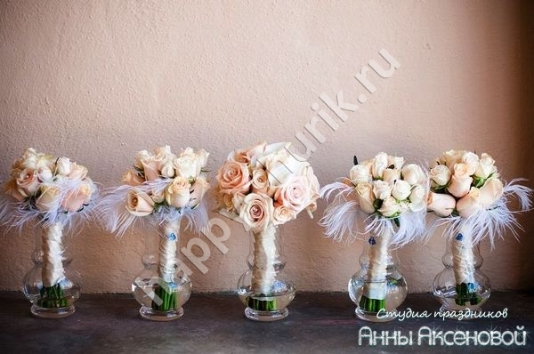 Ostrich feather bouquet wedding