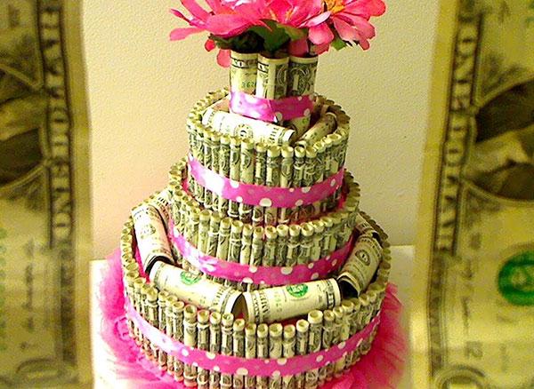 Поздравление к торту из денег